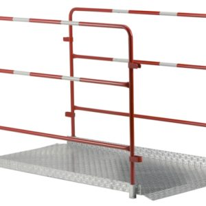 Pont piéton métal avec barrières amovible
